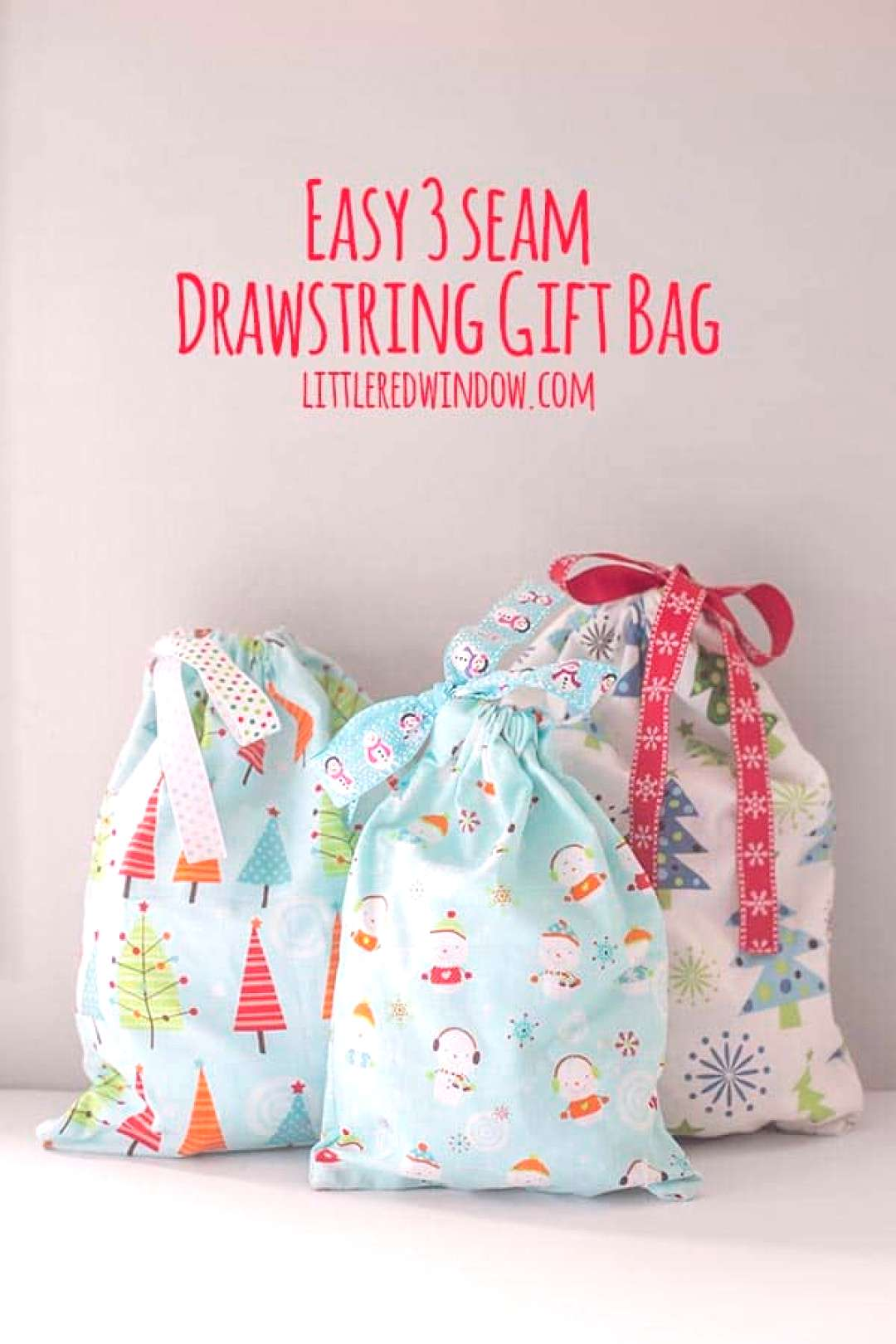 Sew this Easy 3 SEAM drawstring gift bag for your Christmas presents this year, they look cute and