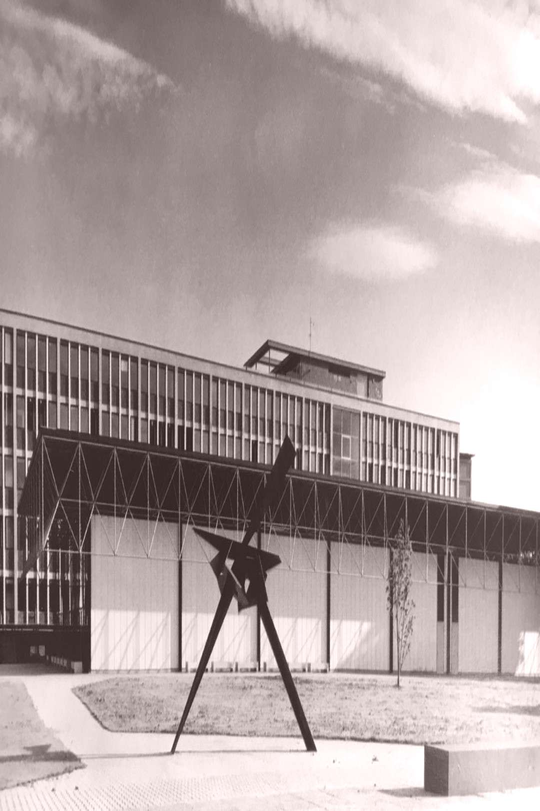 Temporary Lecture Hall (1962) of Technical University Stuttgart, Germany, by Friedrich Wagner -