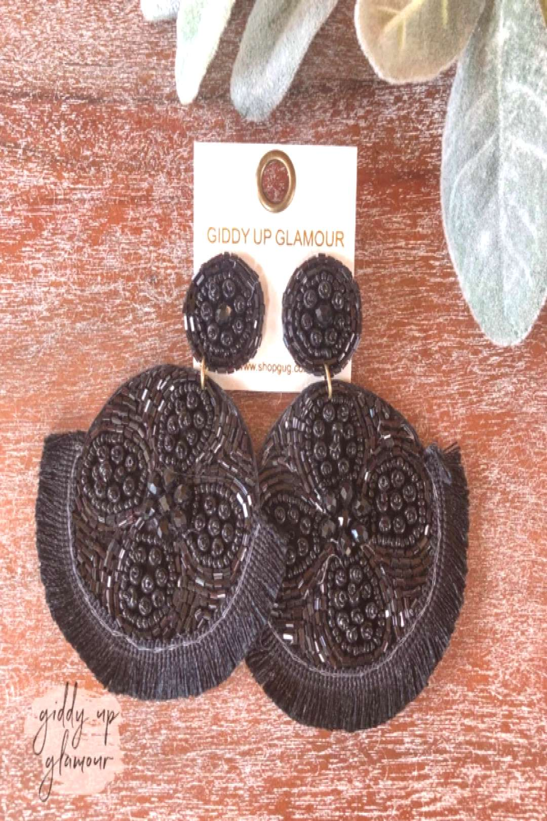 These earrings were exclusively designed for Giddy Up Glamour! Earrings measure 3.5 inches long. SK