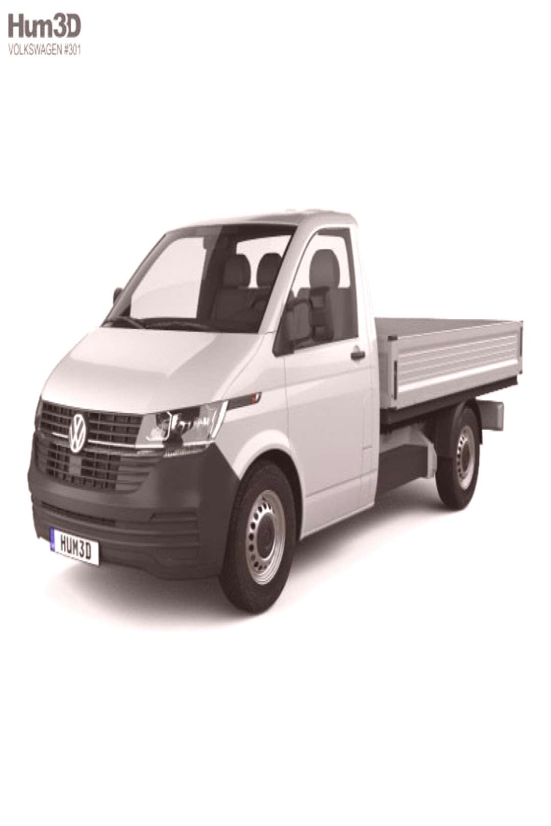 Volkswagen Transporter Single Cab Pickup L2 2019. Fully editable and reusable 3D model of a car.