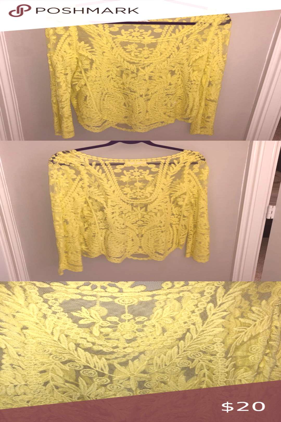 Yellow Crochet Lace Blouse Yellow Crochet Lace Blouse. Scoop neck, sleeves are slightly like a bell